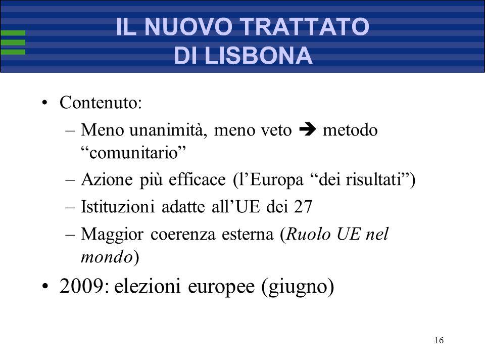 16 IL NUOVO TRATTATO DI LISBONA Contenuto: –Meno unanimità, meno veto metodo comunitario –Azione più efficace (lEuropa dei risultati) –Istituzioni adatte allUE dei 27 –Maggior coerenza esterna (Ruolo UE nel mondo) 2009: elezioni europee (giugno)