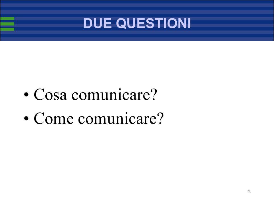 2 DUE QUESTIONI Cosa comunicare Come comunicare
