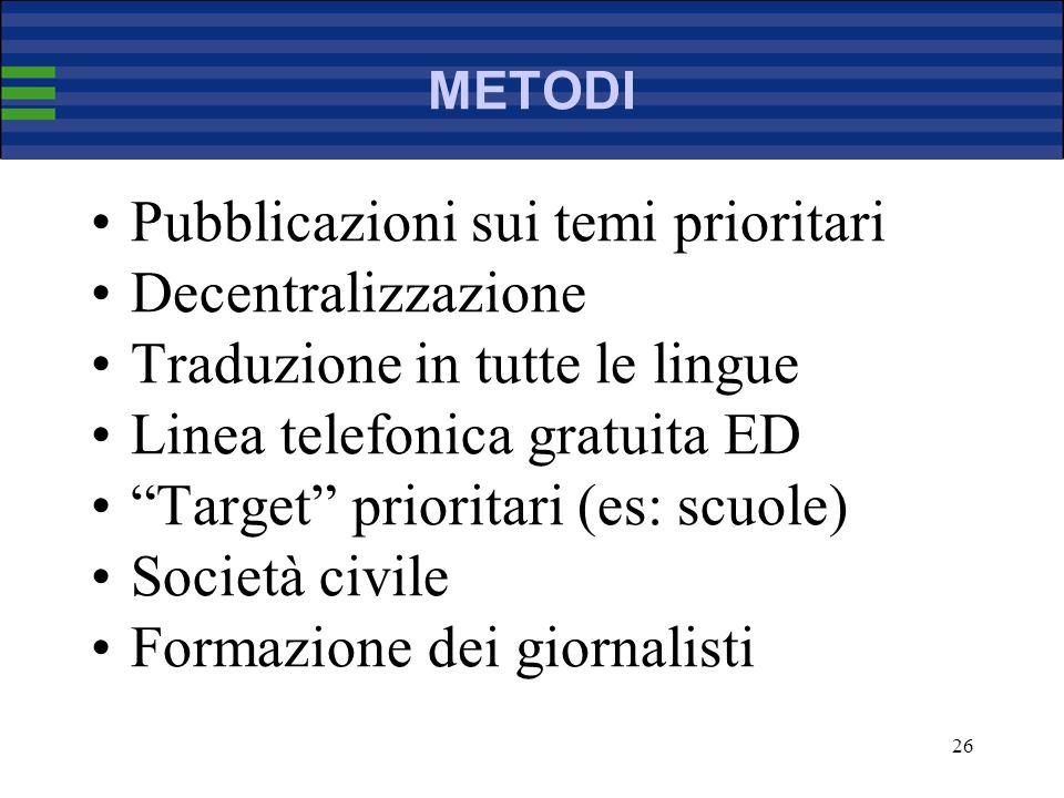 26 METODI Pubblicazioni sui temi prioritari Decentralizzazione Traduzione in tutte le lingue Linea telefonica gratuita ED Target prioritari (es: scuole) Società civile Formazione dei giornalisti