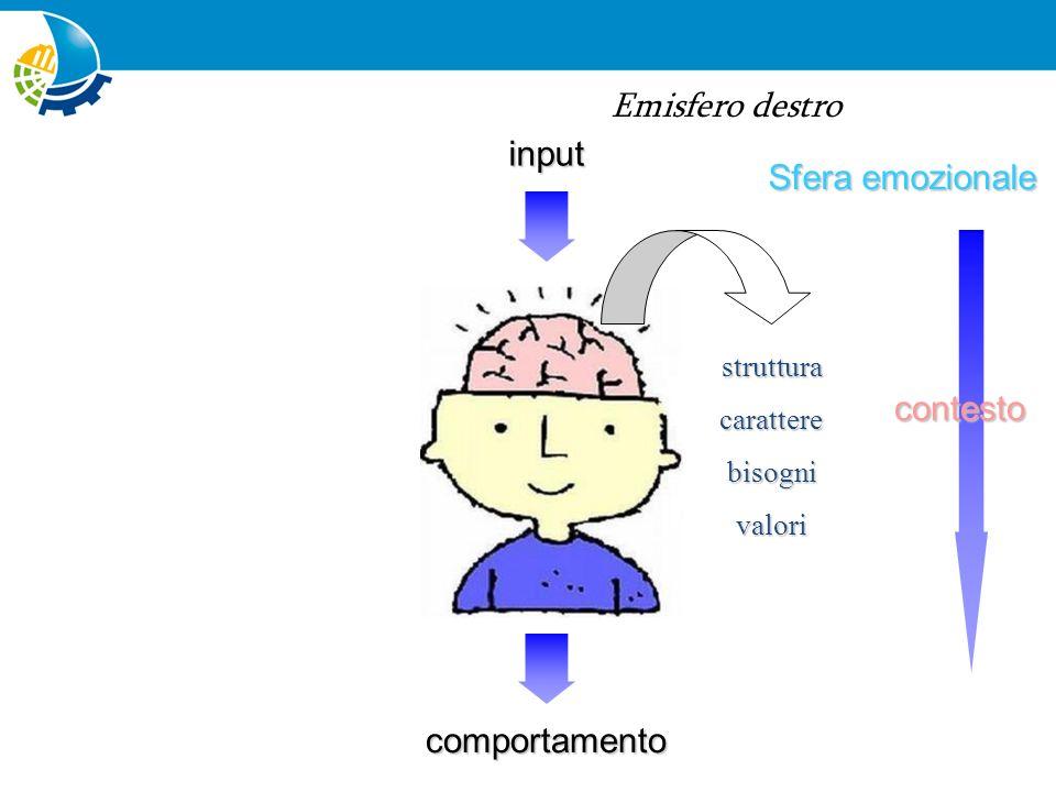 Sfera razionale Sfera emozionale input comportamento contesto livelloattitudiniabilitàcompetenze strutturacaratterebisognivalori PERCEZIONE DEL RISCHIO contesto