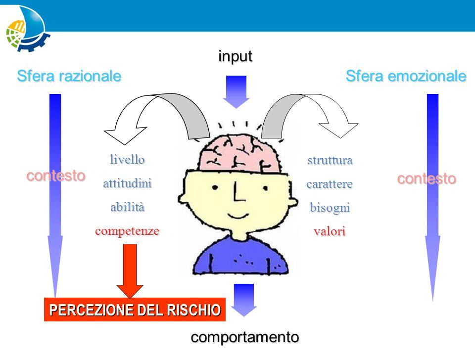 Sfera emozionale input Sfera razionale comportamento contestocontesto livelloattitudiniabilitàcompetenze strutturacaratterebisognivalori PROPENSIONE AL RISCHIO