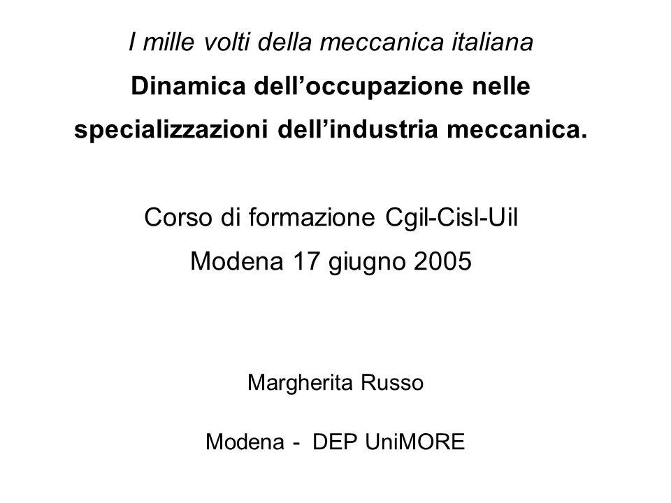 I mille volti della meccanica italiana Dinamica delloccupazione nelle specializzazioni dellindustria meccanica.