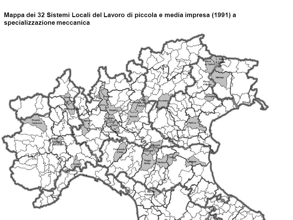Mappa dei 32 Sistemi Locali del Lavoro di piccola e media impresa (1991) a specializzazione meccanica