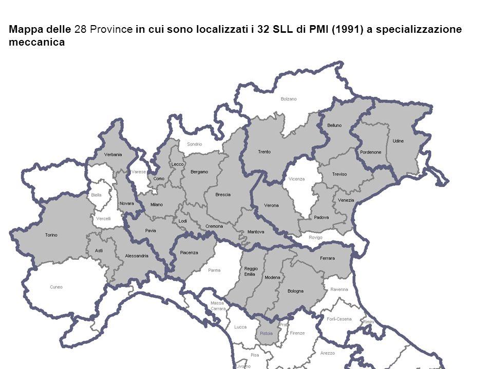 Mappa delle 28 Province in cui sono localizzati i 32 SLL di PMI (1991) a specializzazione meccanica