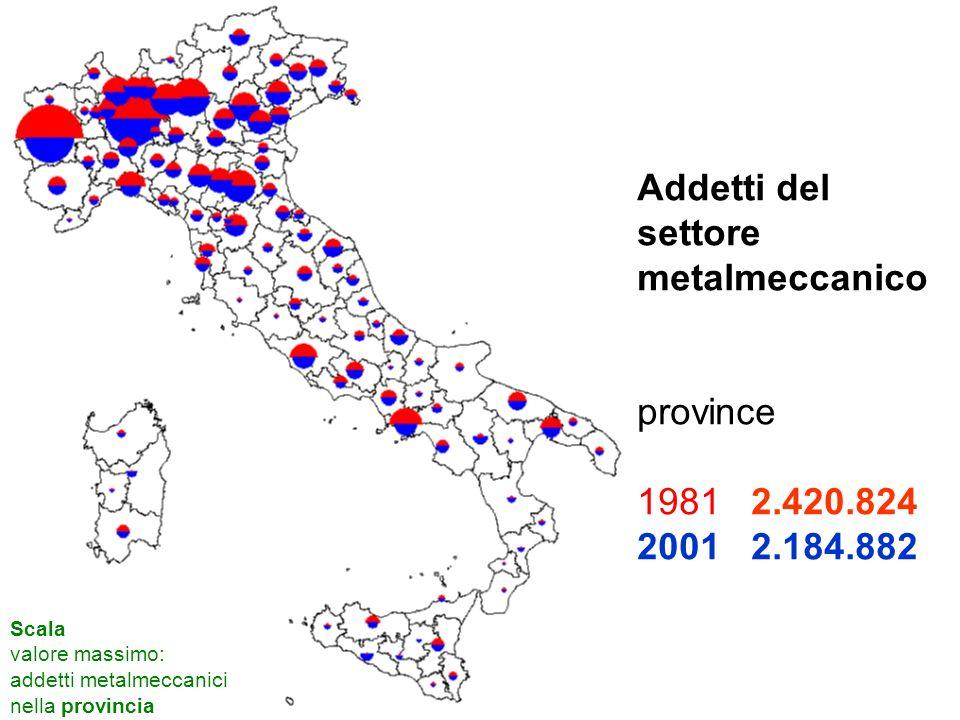 Addetti meccanica, per classi di dimensione per macroregione, 1981 - 2001 (migliaia)