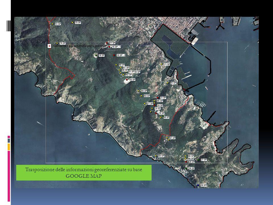 Trasposizione delle informazioni georeferenziate su base GOOGLE MAP