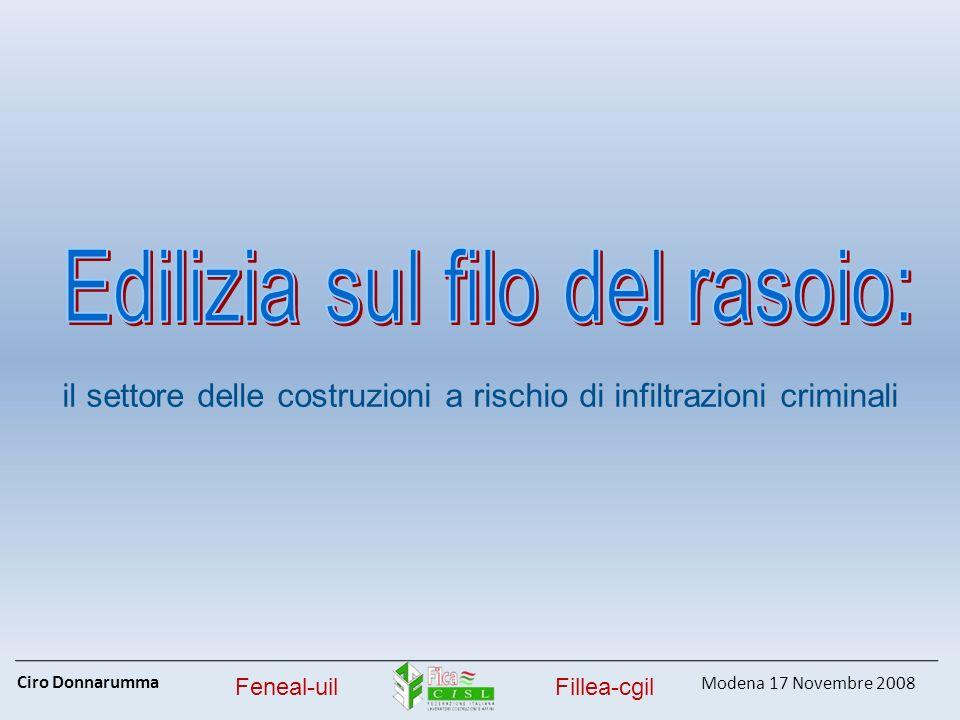 Ciro Donnarumma Modena 17 Novembre 2008 Feneal-uilFillea-cgil il settore delle costruzioni a rischio di infiltrazioni criminali