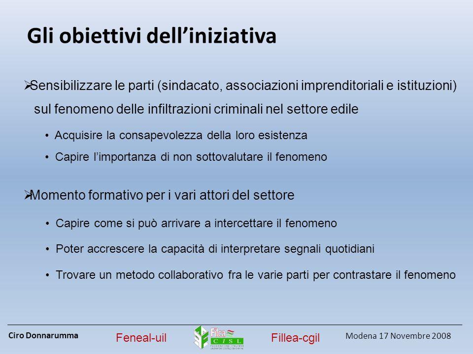 Ciro Donnarumma Modena 17 Novembre 2008 Feneal-uilFillea-cgil Gli obiettivi delliniziativa Sensibilizzare le parti (sindacato, associazioni imprendito