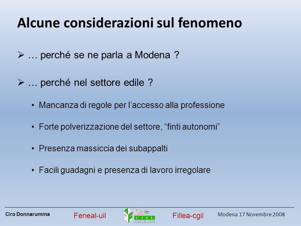 Ciro Donnarumma Modena 17 Novembre 2008 Feneal-uilFillea-cgil Alcune considerazioni sul fenomeno … perché se ne parla a Modena ? … perché nel settore