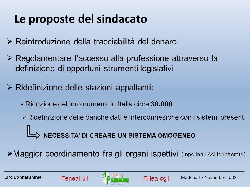 Ciro Donnarumma Modena 17 Novembre 2008 Feneal-uilFillea-cgil Le proposte del sindacato Reintroduzione della tracciabilità del denaro Regolamentare la
