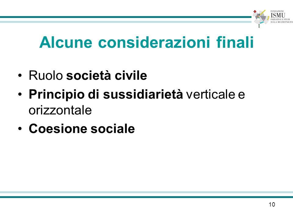 10 Alcune considerazioni finali Ruolo società civile Principio di sussidiarietà verticale e orizzontale Coesione sociale