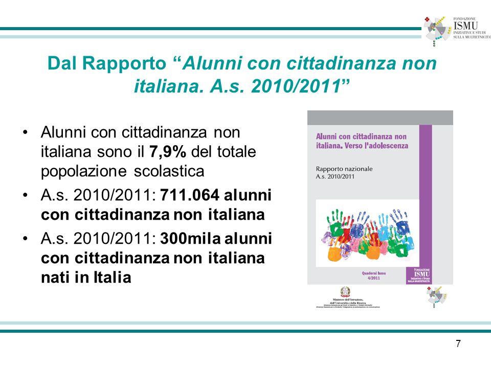 7 Dal Rapporto Alunni con cittadinanza non italiana. A.s. 2010/2011 Alunni con cittadinanza non italiana sono il 7,9% del totale popolazione scolastic