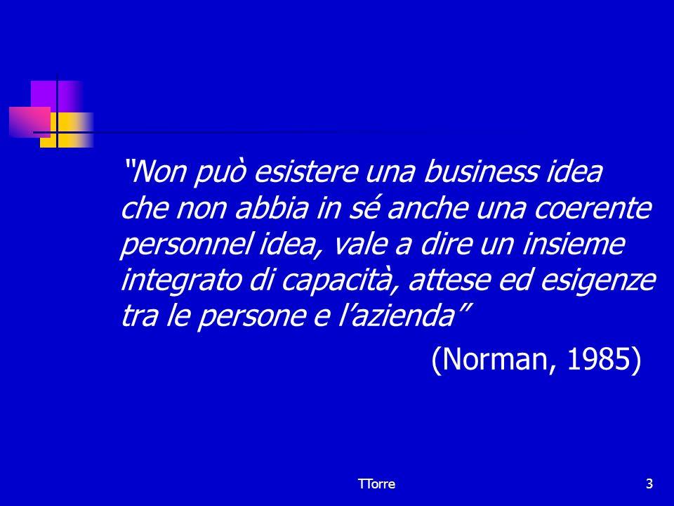 TTorre3 Non può esistere una business idea che non abbia in sé anche una coerente personnel idea, vale a dire un insieme integrato di capacità, attese