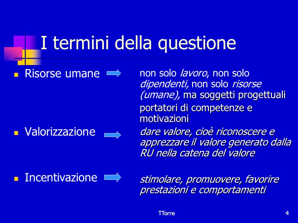 TTorre4 I termini della questione Risorse umane Valorizzazione Incentivazione ma soggetti progettuali non solo lavoro, non solo dipendenti, non solo r