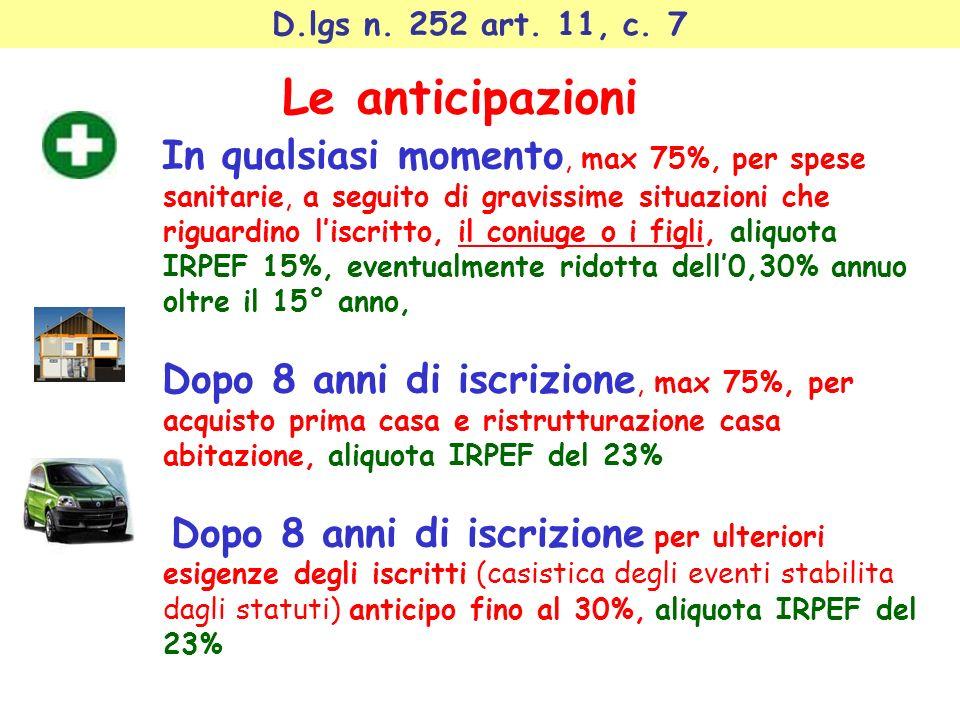 D.lgs n. 252 art. 11, c. 7 Le anticipazioni In qualsiasi momento, max 75%, per spese sanitarie, a seguito di gravissime situazioni che riguardino lisc