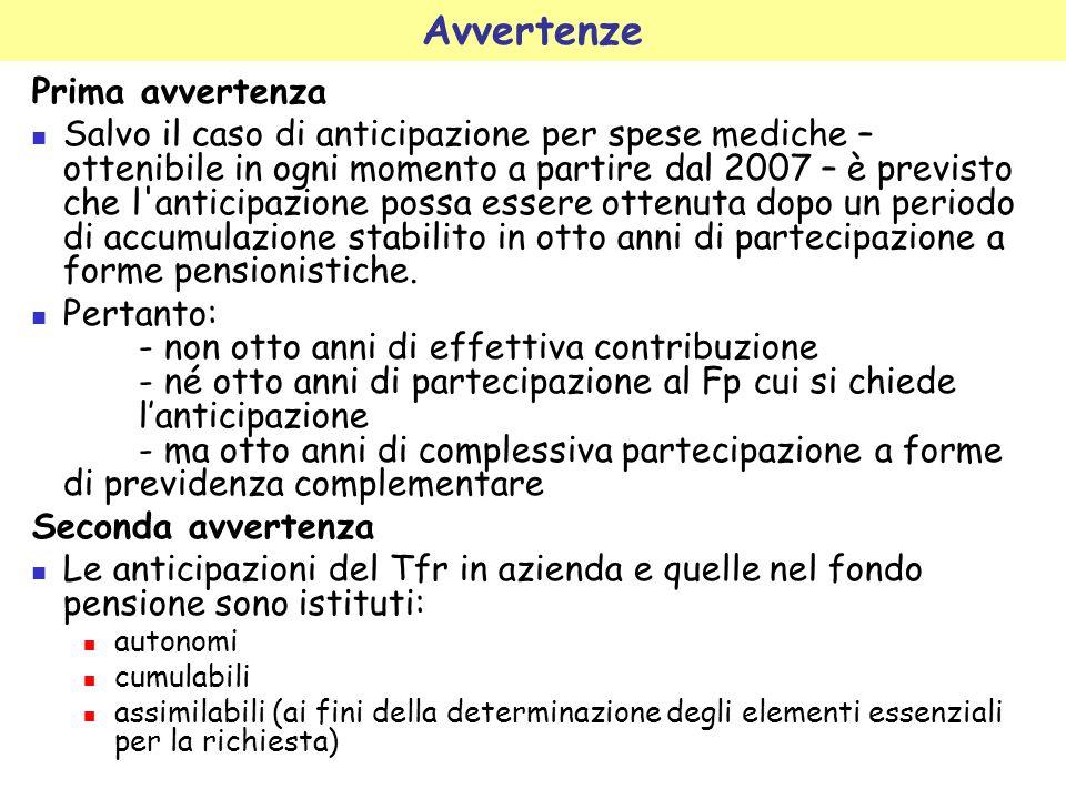 Avvertenze Prima avvertenza Salvo il caso di anticipazione per spese mediche – ottenibile in ogni momento a partire dal 2007 – è previsto che l'antici