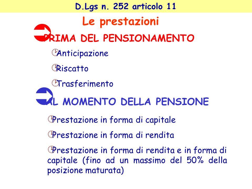 D.Lgs n. 252 articolo 11 Le prestazioni Anticipazione Riscatto Trasferimento PRIMA DEL PENSIONAMENTO Prestazione in forma di capitale Prestazione in f