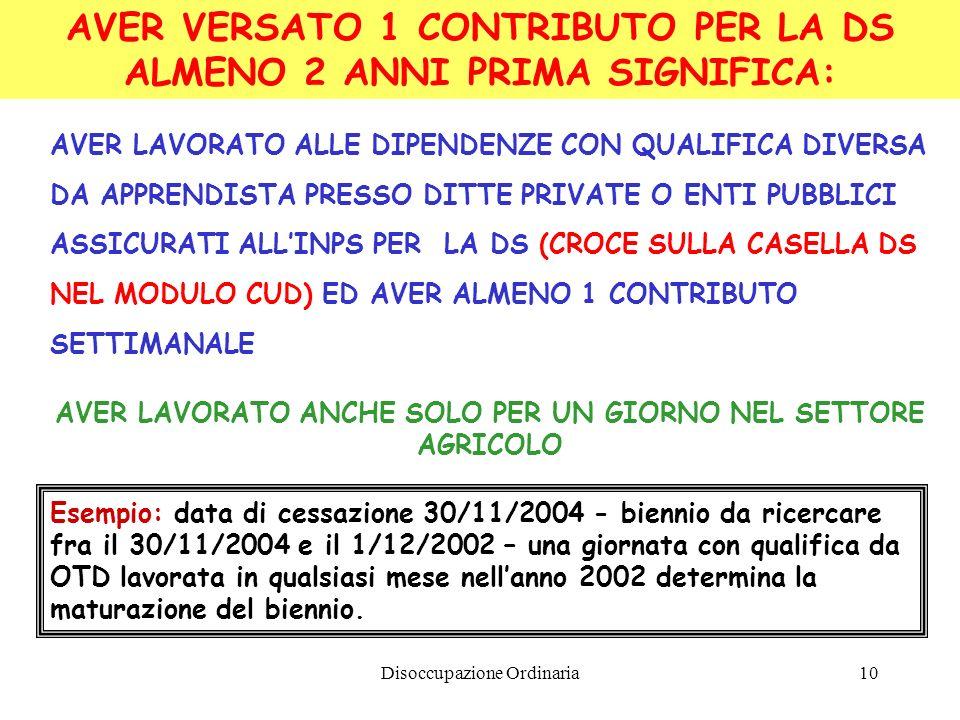 Disoccupazione Ordinaria10 AVER VERSATO 1 CONTRIBUTO PER LA DS ALMENO 2 ANNI PRIMA SIGNIFICA: AVER LAVORATO ALLE DIPENDENZE CON QUALIFICA DIVERSA DA APPRENDISTA PRESSO DITTE PRIVATE O ENTI PUBBLICI ASSICURATI ALLINPS PER LA DS (CROCE SULLA CASELLA DS NEL MODULO CUD) ED AVER ALMENO 1 CONTRIBUTO SETTIMANALE AVER LAVORATO ANCHE SOLO PER UN GIORNO NEL SETTORE AGRICOLO Esempio: data di cessazione 30/11/2004 - biennio da ricercare fra il 30/11/2004 e il 1/12/2002 – una giornata con qualifica da OTD lavorata in qualsiasi mese nellanno 2002 determina la maturazione del biennio.