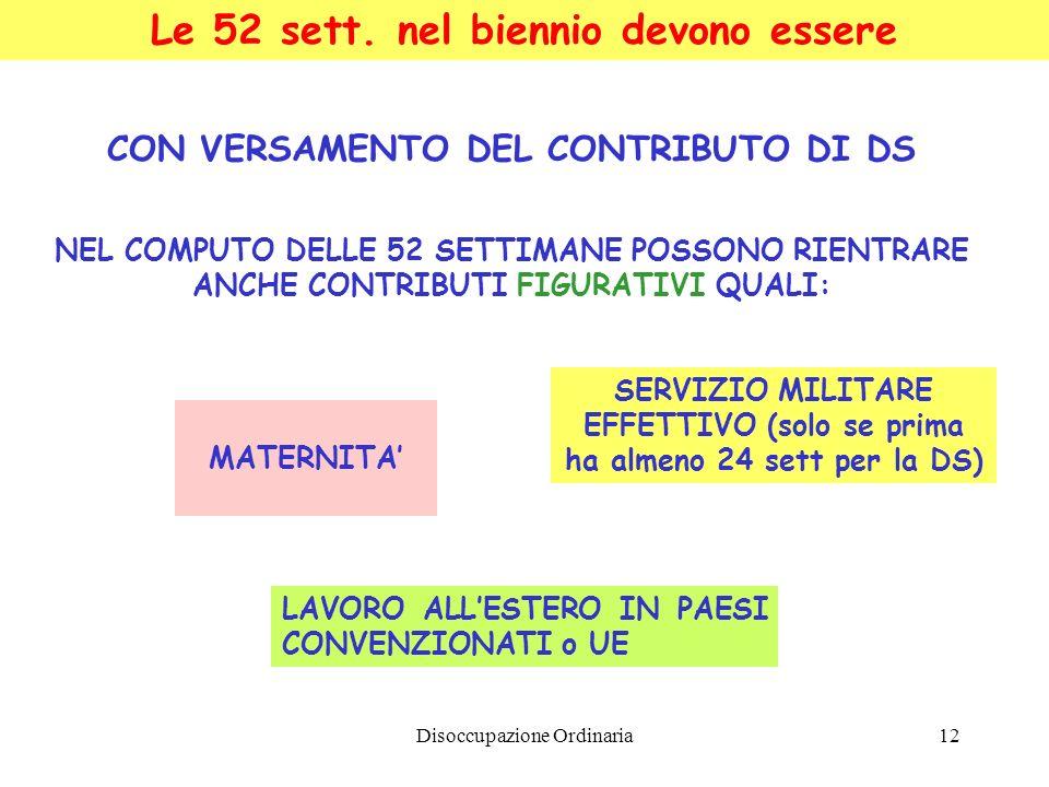Disoccupazione Ordinaria12 Le 52 sett. nel biennio devono essere CON VERSAMENTO DEL CONTRIBUTO DI DS NEL COMPUTO DELLE 52 SETTIMANE POSSONO RIENTRARE