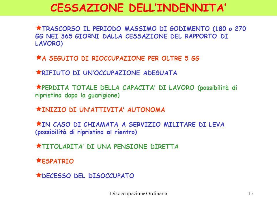 Disoccupazione Ordinaria17 CESSAZIONE DELLINDENNITA TRASCORSO IL PERIODO MASSIMO DI GODIMENTO (180 o 270 GG NEI 365 GIORNI DALLA CESSAZIONE DEL RAPPOR