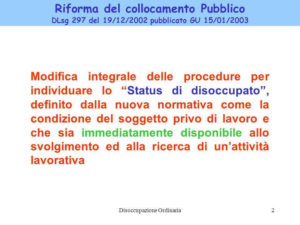 Disoccupazione Ordinaria2 Riforma del collocamento Pubblico DLsg 297 del 19/12/2002 pubblicato GU 15/01/2003 Modifica integrale delle procedure per in