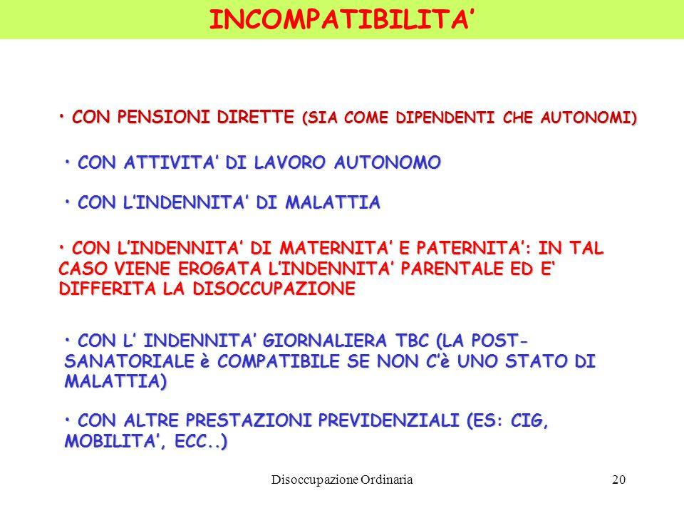 Disoccupazione Ordinaria20 INCOMPATIBILITA CON PENSIONI DIRETTE (SIA COME DIPENDENTI CHE AUTONOMI) CON PENSIONI DIRETTE (SIA COME DIPENDENTI CHE AUTON