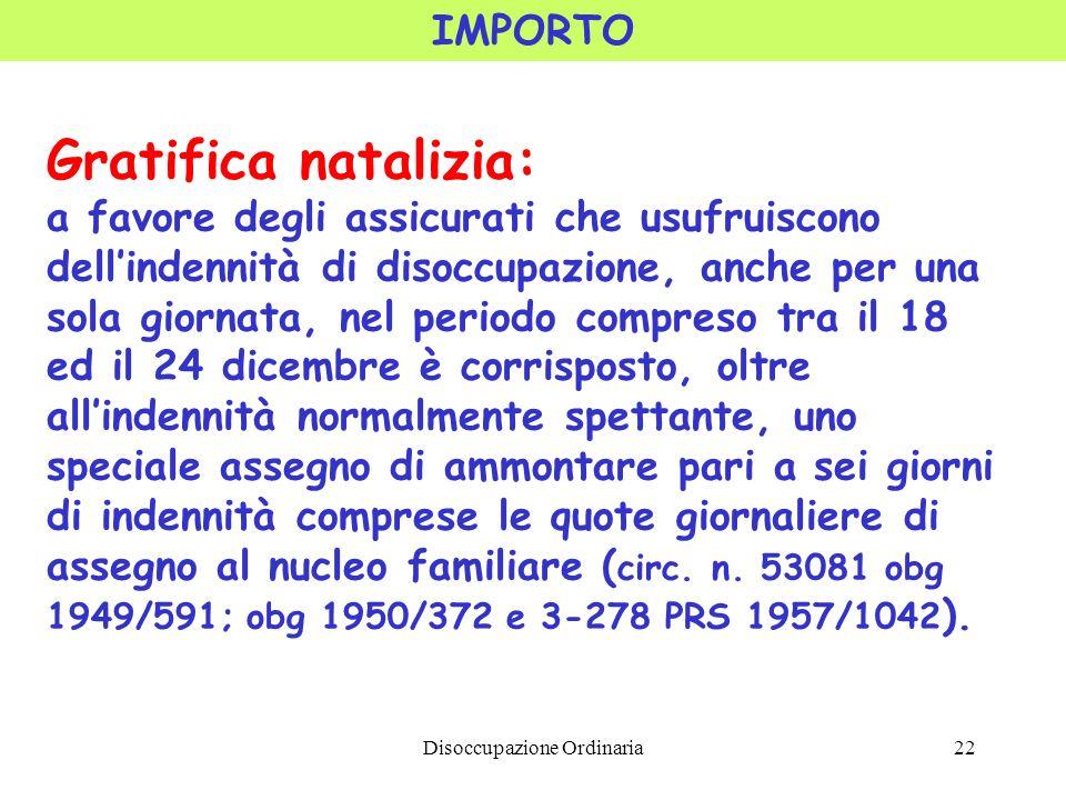 Disoccupazione Ordinaria22 IMPORTO Gratifica natalizia: a favore degli assicurati che usufruiscono dellindennità di disoccupazione, anche per una sola