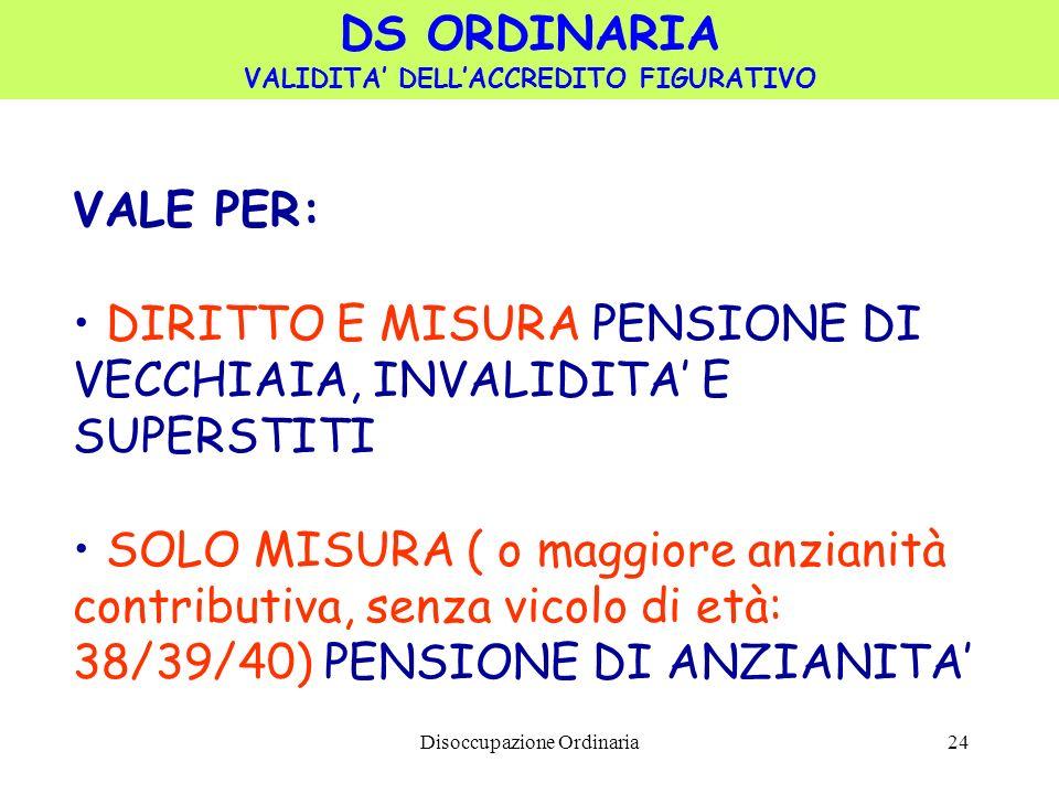 Disoccupazione Ordinaria24 VALE PER: DIRITTO E MISURA PENSIONE DI VECCHIAIA, INVALIDITA E SUPERSTITI SOLO MISURA ( o maggiore anzianità contributiva, senza vicolo di età: 38/39/40) PENSIONE DI ANZIANITA DS ORDINARIA VALIDITA DELLACCREDITO FIGURATIVO