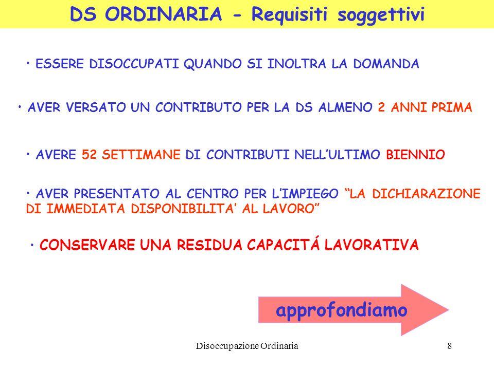 Disoccupazione Ordinaria8 DS ORDINARIA - Requisiti soggettivi ESSERE DISOCCUPATI QUANDO SI INOLTRA LA DOMANDA AVER VERSATO UN CONTRIBUTO PER LA DS ALM
