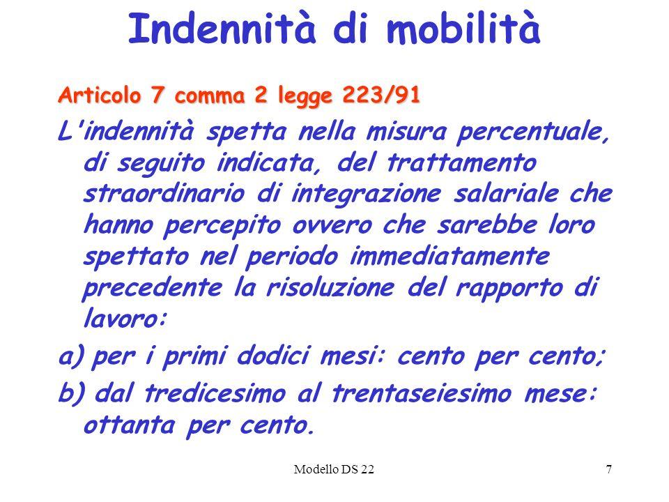 Modello DS 227 Articolo 7 comma 2 legge 223/91 L'indennità spetta nella misura percentuale, di seguito indicata, del trattamento straordinario di inte