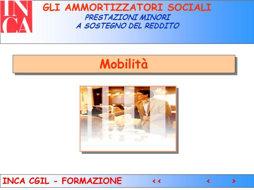 5 GLI AMMORTIZZATORI SOCIALI PRESTAZIONI MINORI A SOSTEGNO DEL REDDITO Mobilità INCA CGIL - FORMAZIONE