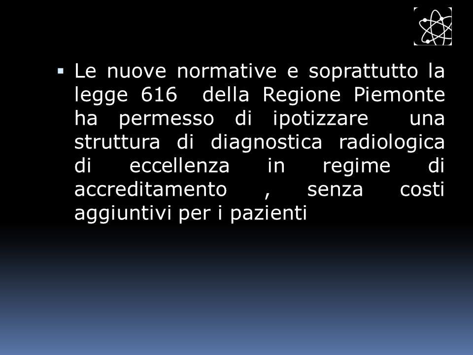 Le nuove normative e soprattutto la legge 616 della Regione Piemonte ha permesso di ipotizzare una struttura di diagnostica radiologica di eccellenza