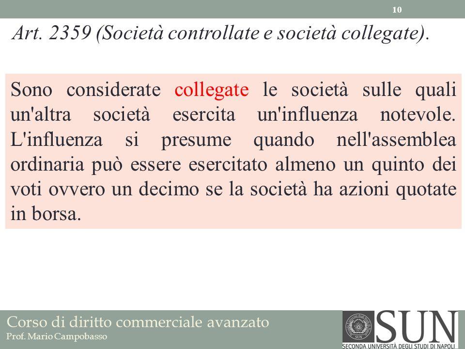 Corso di diritto commerciale avanzato Prof. Mario Campobasso Art. 2359 (Società controllate e società collegate). Sono considerate collegate le societ