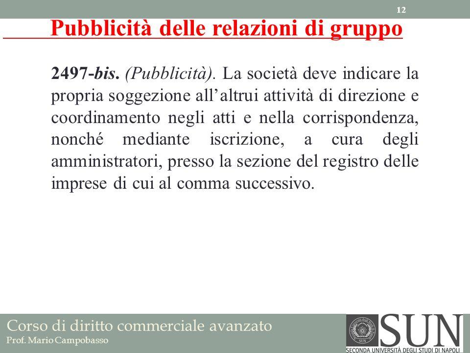 Corso di diritto commerciale avanzato Prof. Mario Campobasso 2497-bis. (Pubblicità). La società deve indicare la propria soggezione allaltrui attività