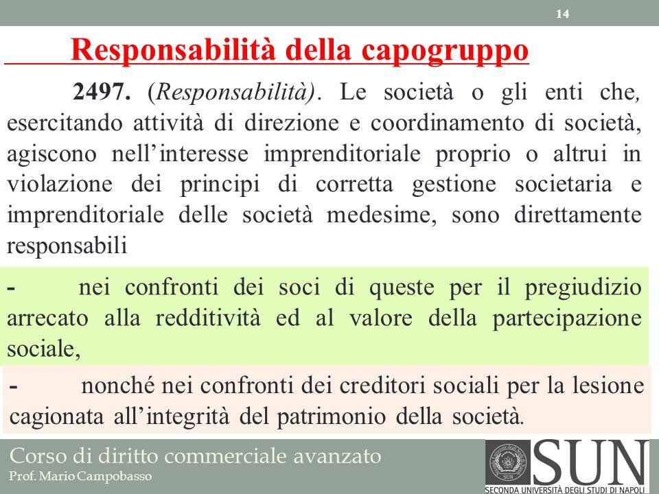 Corso di diritto commerciale avanzato Prof. Mario Campobasso 2497. (Responsabilità). Le società o gli enti che, esercitando attività di direzione e co