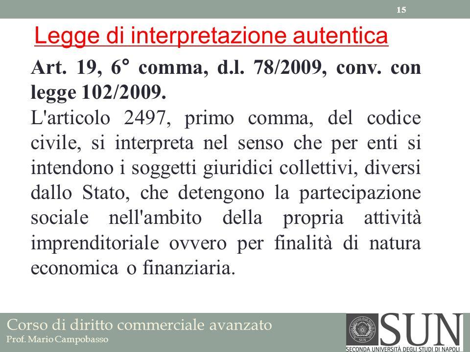 Corso di diritto commerciale avanzato Prof. Mario Campobasso Art. 19, 6° comma, d.l. 78/2009, conv. con legge 102/2009. L'articolo 2497, primo comma,