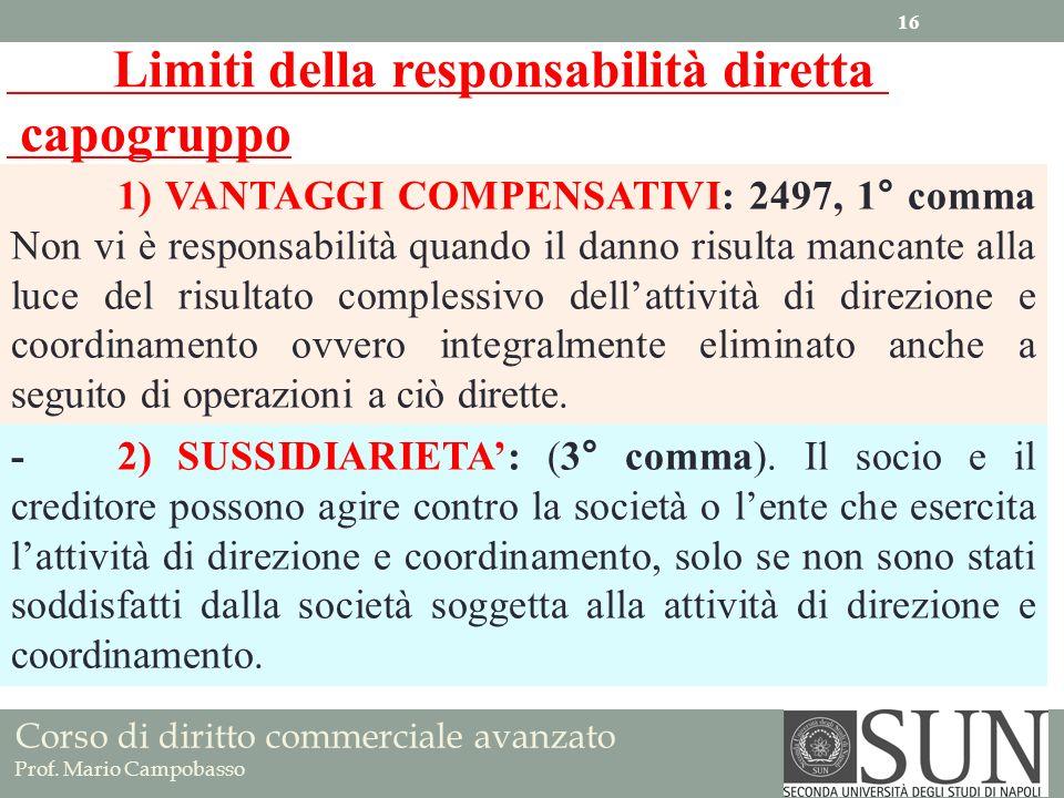 Corso di diritto commerciale avanzato Prof. Mario Campobasso 1) VANTAGGI COMPENSATIVI: 2497, 1° comma Non vi è responsabilità quando il danno risulta