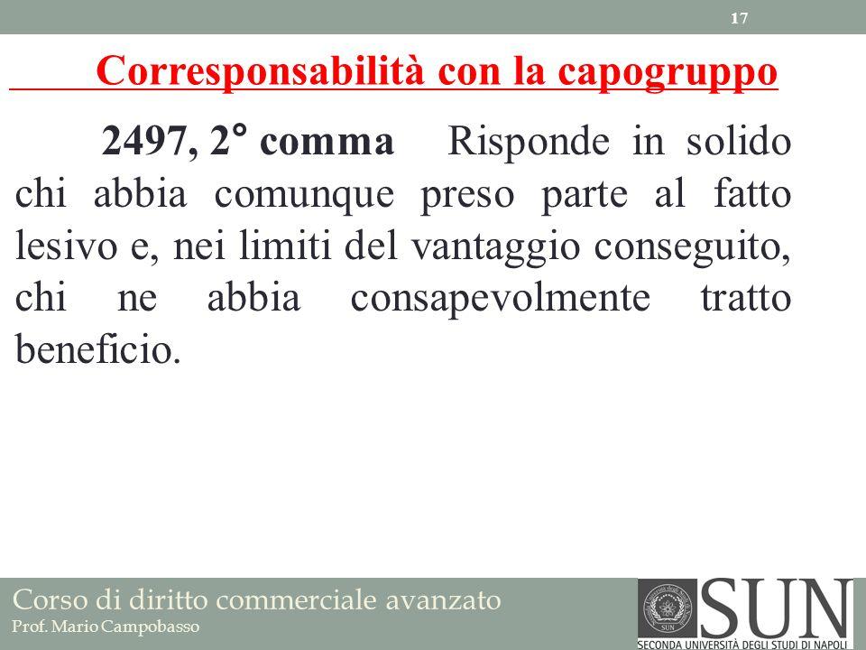 Corso di diritto commerciale avanzato Prof. Mario Campobasso 2497, 2° commaRisponde in solido chi abbia comunque preso parte al fatto lesivo e, nei li