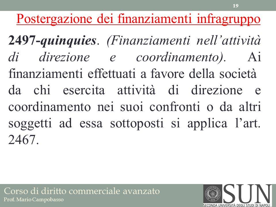 Corso di diritto commerciale avanzato Prof. Mario Campobasso 2497-quinquies. (Finanziamenti nellattività di direzione e coordinamento). Ai finanziamen