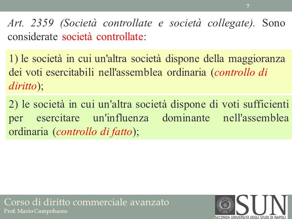Corso di diritto commerciale avanzato Prof. Mario Campobasso Art. 2359 (Società controllate e società collegate). Sono considerate società controllate