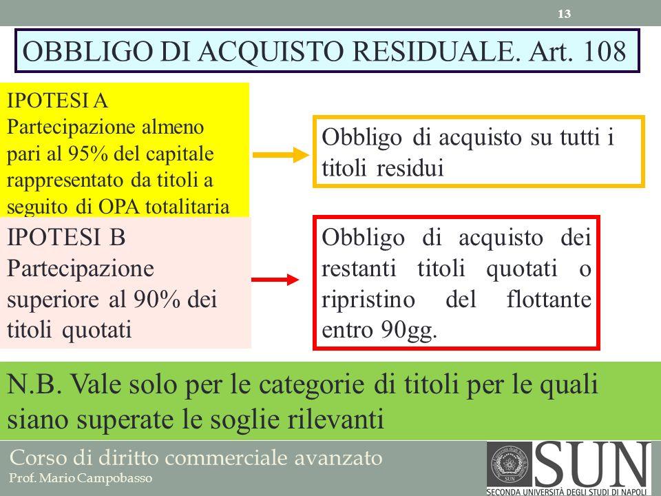 Corso di diritto commerciale avanzato Prof. Mario Campobasso OBBLIGO DI ACQUISTO RESIDUALE. Art. 108 IPOTESI A Partecipazione almeno pari al 95% del c