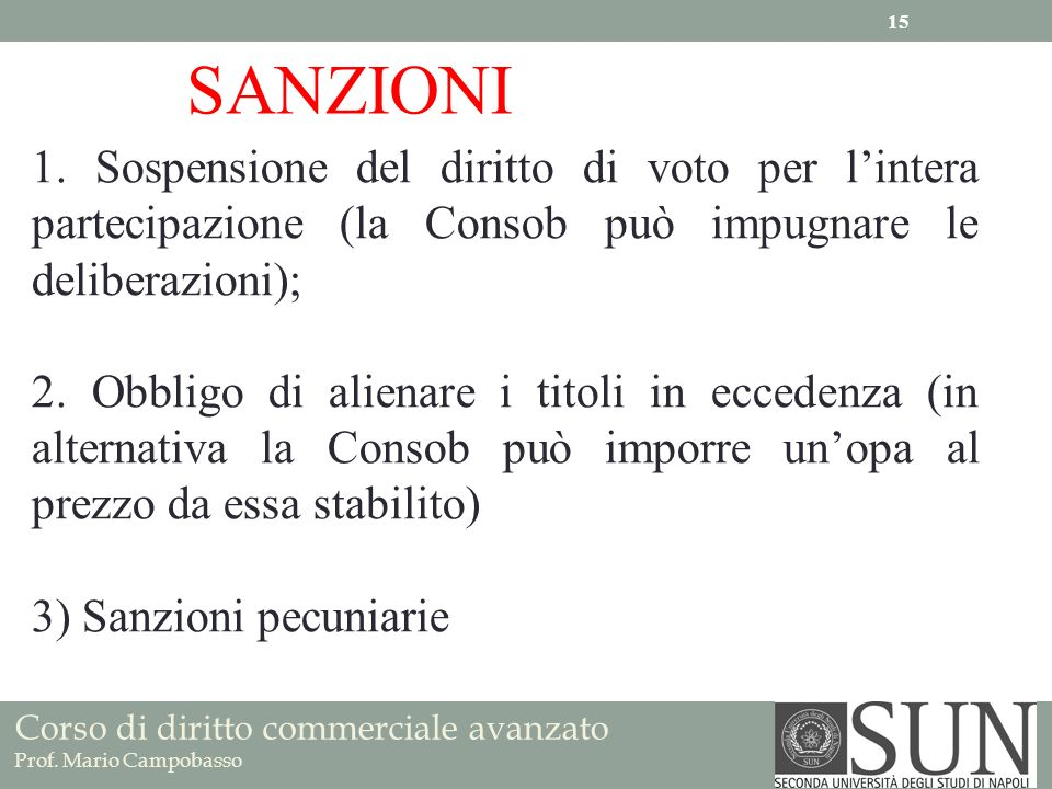 Corso di diritto commerciale avanzato Prof. Mario Campobasso SANZIONI 1. Sospensione del diritto di voto per lintera partecipazione (la Consob può imp