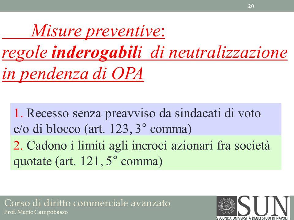 Corso di diritto commerciale avanzato Prof. Mario Campobasso Misure preventive: regole inderogabili di neutralizzazione in pendenza di OPA 1. Recesso