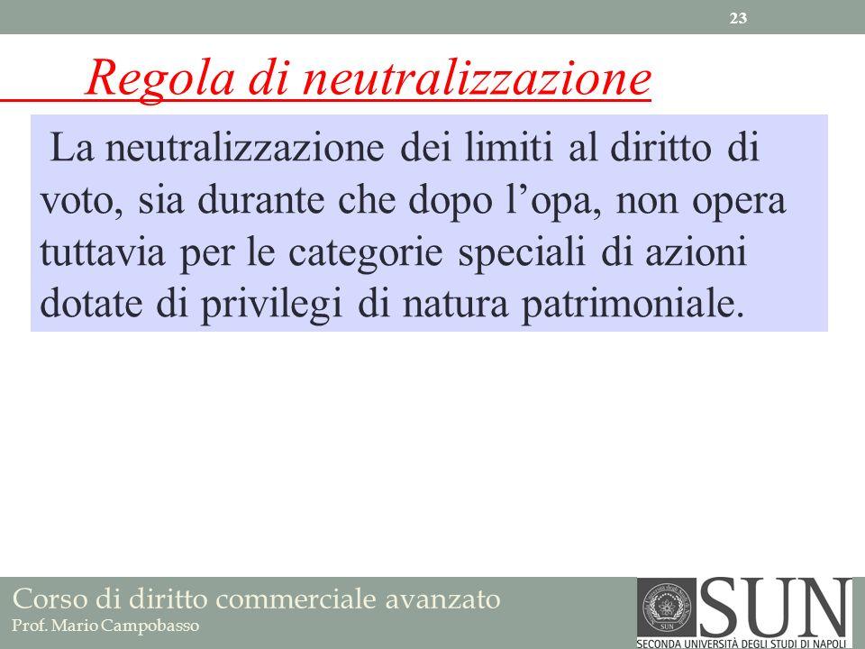 Corso di diritto commerciale avanzato Prof. Mario Campobasso Regola di neutralizzazione La neutralizzazione dei limiti al diritto di voto, sia durante