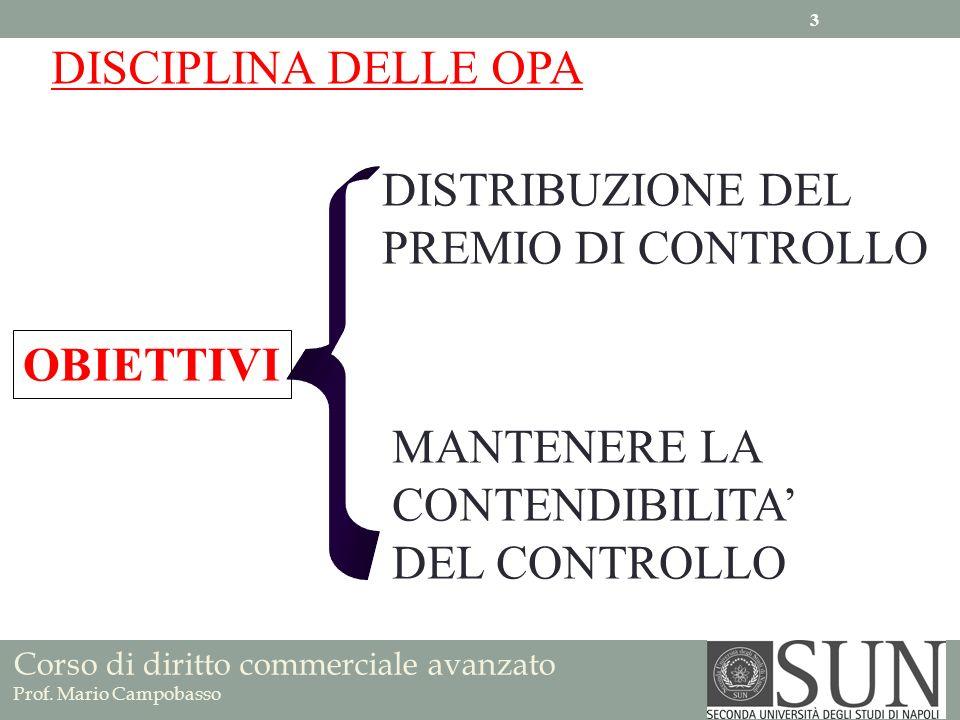 Corso di diritto commerciale avanzato Prof. Mario Campobasso DISTRIBUZIONE DEL PREMIO DI CONTROLLO MANTENERE LA CONTENDIBILITA DEL CONTROLLO DISCIPLIN