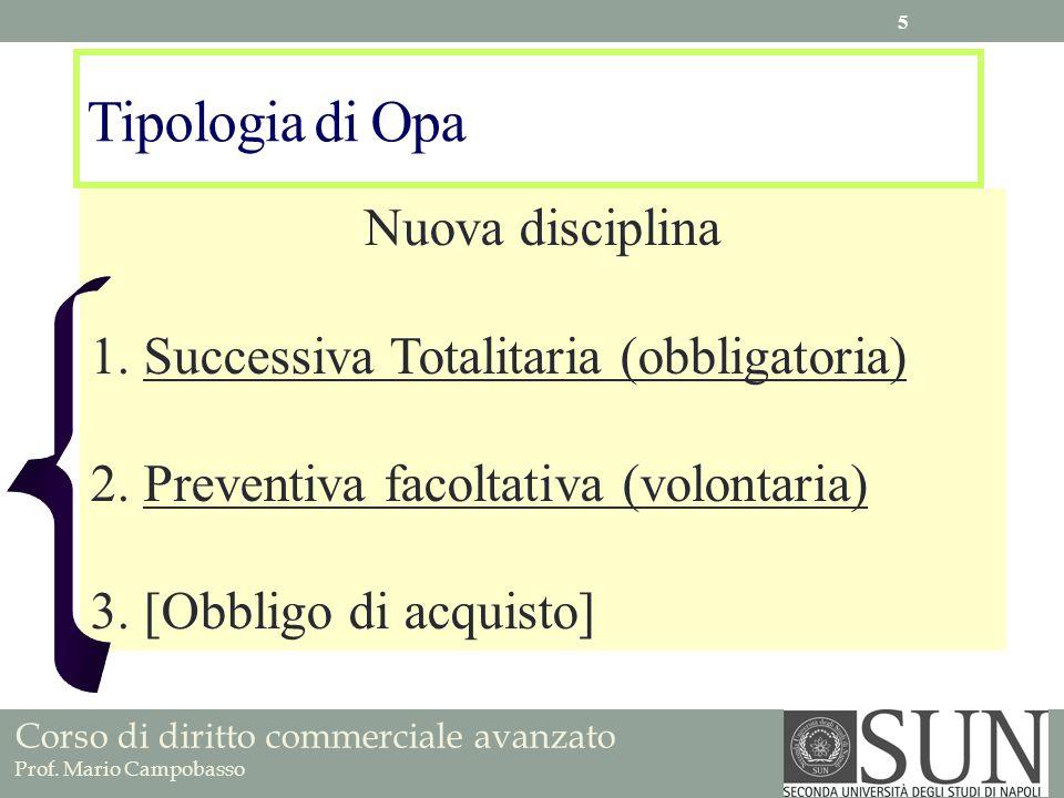 Corso di diritto commerciale avanzato Prof. Mario Campobasso Tipologia di Opa Nuova disciplina 1.Successiva Totalitaria (obbligatoria) 2.Preventiva fa