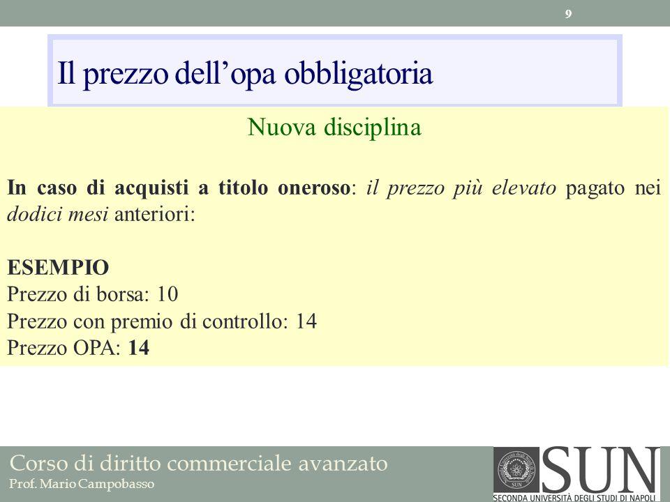 Corso di diritto commerciale avanzato Prof. Mario Campobasso Il prezzo dellopa obbligatoria Nuova disciplina In caso di acquisti a titolo oneroso: il