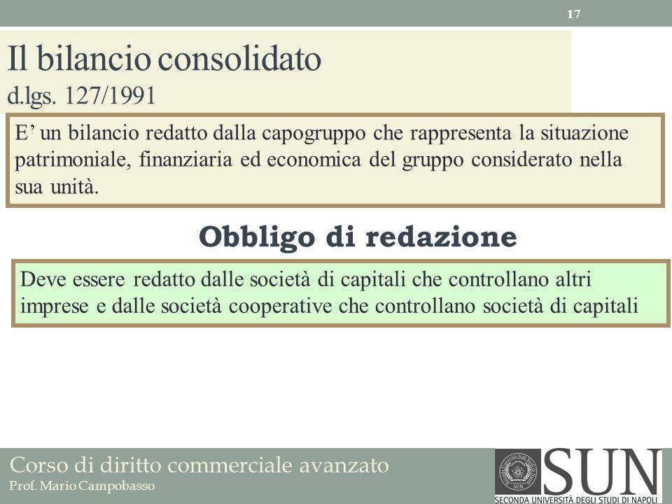 Corso di diritto commerciale avanzato Prof. Mario Campobasso Il bilancio consolidato d.lgs. 127/1991 E un bilancio redatto dalla capogruppo che rappre