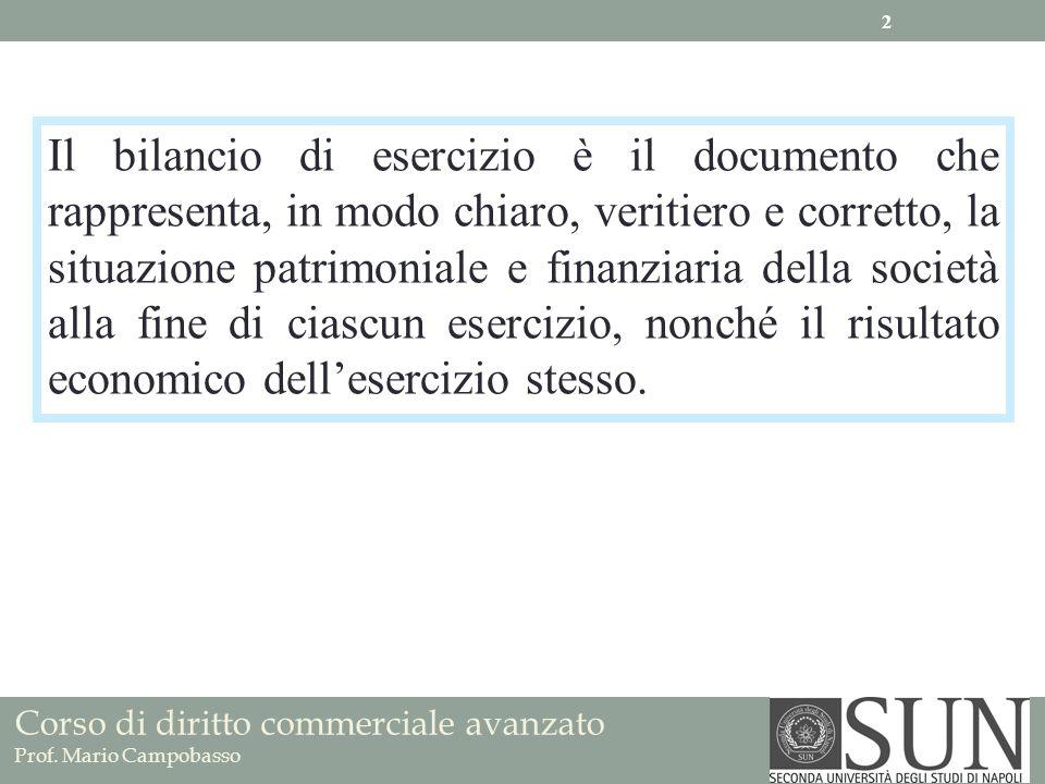 Corso di diritto commerciale avanzato Prof. Mario Campobasso Il bilancio di esercizio è il documento che rappresenta, in modo chiaro, veritiero e corr