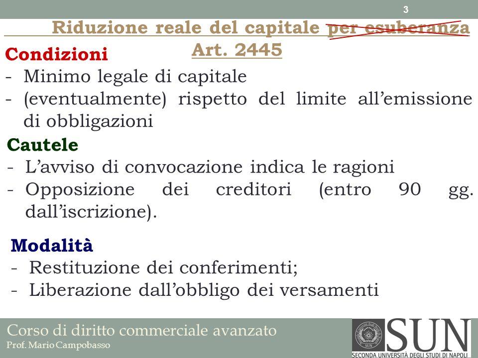 Corso di diritto commerciale avanzato Prof. Mario Campobasso Riduzione reale del capitale per esuberanza Art. 2445 Condizioni -Minimo legale di capita